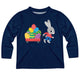 Bunny And Easter Egg Name Navy Long Sleeve Tee Shirt - Wimziy&Co.