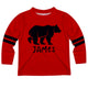 Boys red and black bear long sleeve tee shirt with name - Wimziy&Co.