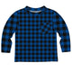 Boys black and blue buffalo plaid long sleeve tee shirt - Wimziy&Co.