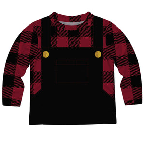 Boys black and red plaid dapper long sleeve tee shirt - Wimziy&Co.