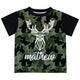 Boys green camo and white deer short sleeve tee shirt with name - Wimziy&Co.