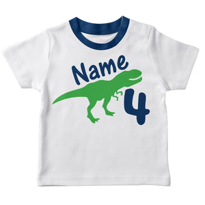 White short sleeve dinousaur boys tee shirt with name - Wimziy&Co.