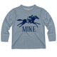 Gray long sleeve equestrian tee shirt with name - Wimziy&Co.