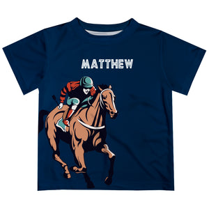 Navy short sleeve equestrian boys tee shirt with name - Wimziy&Co.