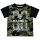 Boys green camo and white short sleeve tee shirt with name and initial - Wimziy&Co.