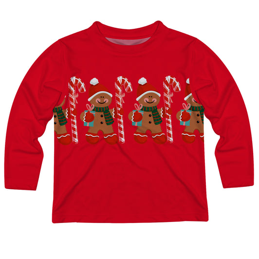 Gingerbread Red Long Sleeve Tee Shirt - Wimziy&Co.