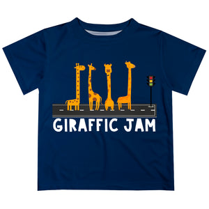 Giraffe Jam Navy Short Sleeve Boys Tee Shirt - Wimziy&Co.