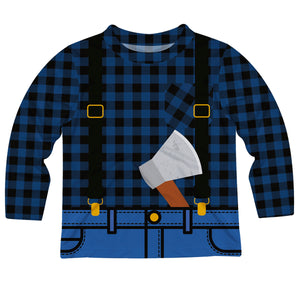 Boys blue buffalo plaid lumberjack long sleeve tee shirt - Wimziy&Co.