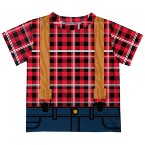 Boys red plaid lumberjack short sleeve tee shirt - Wimziy&Co.