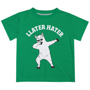 Green and white 'llater hater' boys tee shirt