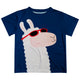 Navy and white llama boys tee shirt with name - Wimziy&Co.