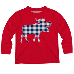 Boys red and blue plaid moose long sleeve tee shirt - Wimziy&Co.