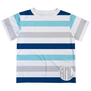 Monogram Stripes Blue Gray And White Tee Shirt - Wimziy&Co.