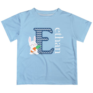 Bunny Initial and Name Light Blue Short Sleeve Tee Shirt - Wimziy&Co.