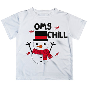 White short sleeve tee shirt with snowman face - Wimziy&Co.