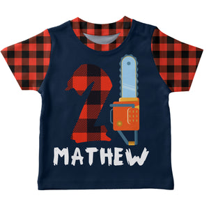 Boys navy and red plaid lumberjack short sleeve tee shirt with name and number - Wimziy&Co.