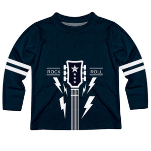 Rock Guitar Name Navy Long Sleeve Tee Shirt - Wimziy&Co.