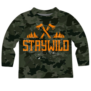 Boys green camo and orange stay wild long sleeve tee shirt