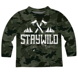 Boys green camo and white stay wild long sleeve tee shirt - Wimziy&Co.