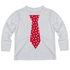 Tie With Hearts White Long Sleeve Tee Shirt - Wimziy&Co.