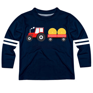 Navy and white long sleeve boys tee shirt with tractor and name