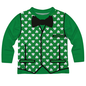 Vest and Clover Print Green Long Sleeve Tee Shirt - Wimziy&Co.