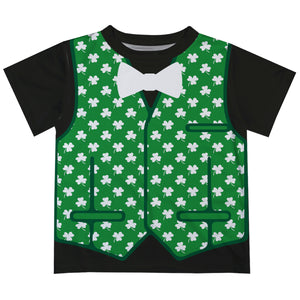Vest and Clover Print Green and Black Short Sleeve Tee Shirt - Wimziy&Co.