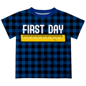 White First Day Name Plaid Navy Black Boys TShirt SS - Wimziy&Co.