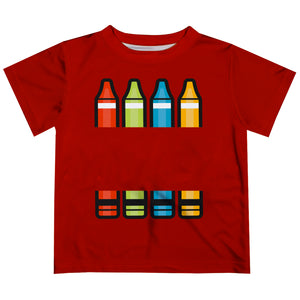 White Name Crayons Red Short Sleeve Boys Tee Shirt - Wimziy&Co.