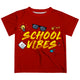 Yellow School Vibes Red Short Sleeve Boys Tee Shirt - Wimziy&Co.