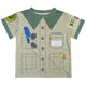 Zoo Keeper Name Beige and Green Short Sleeve Tee Shirt - Wimziy&Co.