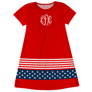 Americana Monogran Red Short Sleeve A Line Dress - Wimziy&Co.