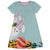 Bunny Monogram Light Blue Short Sleeve A Line Dress