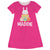 Bunny And Easter Eggs Name Hot Pink Short Sleeve  A Line Dress