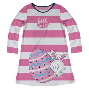 Bunny Easter Egg Monogram Pink and White Stripes Long Sleeve A Line Dress - Wimziy&Co.