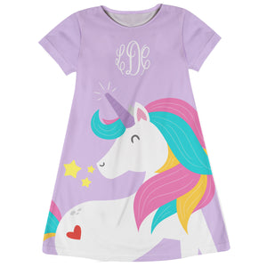 Pink and white big unicorn girls a line dress with monogram - Wimziy&Co.