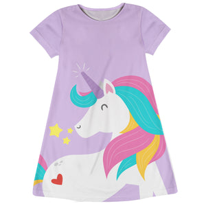 Pink and white big unicorn girls a line dress with monogram