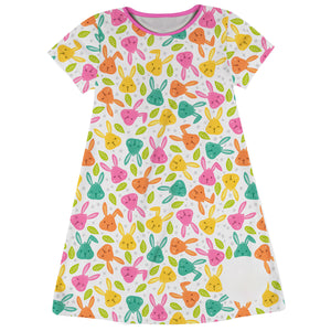 Bunnies Print White Short Sleeve A Line Dress - Wimziy&Co.
