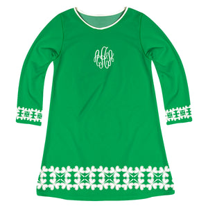 Clover Monogram Green And White Long Sleeve A Line Dress - Wimziy&Co.