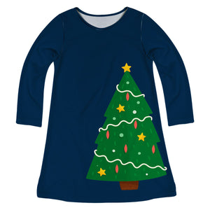 Navy long sleeve a line dress with Christmas tree and monogram - Wimziy&Co.