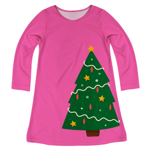 Pink long sleeve dress with Christmas tree and monogram - Wimziy&Co.