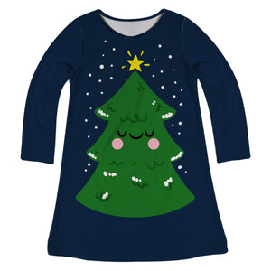Navy long sleeve a line dress with Christmas tree and name - Wimziy&Co.