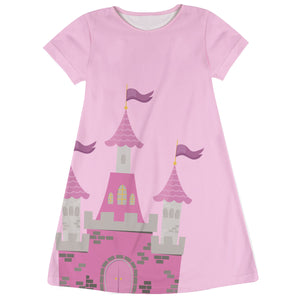 Castle Name Pink Short Sleeve A Line Dress - Wimziy&Co.