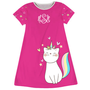 Hot pink and white cat unicorn a line dress with monogram - Wimziy&Co.