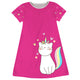 Hot pink and white cat unicorn a line dress with monogram