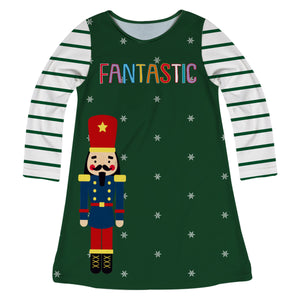 Green and white a line dress with Nutcracker - Wimziy&Co.