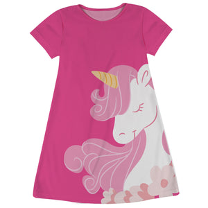 Hot pink and white big unicorn a line dress with name - Wimziy&Co.