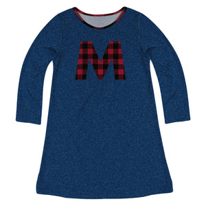 Girls navy denim and red plaid initial a line dress - Wimziy&Co.