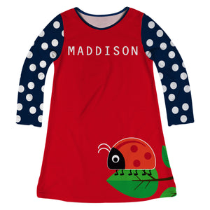 Ladybug Name Red Long Sleeve A Line Dress