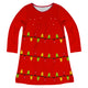 Red long sleeve dress with Christmas lights and name - Wimziy&Co.